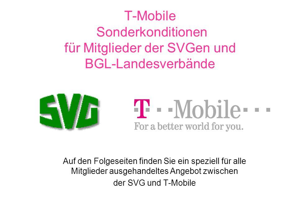 T-Mobile Sonderkonditionen für Mitglieder der SVGen und BGL-Landesverbände