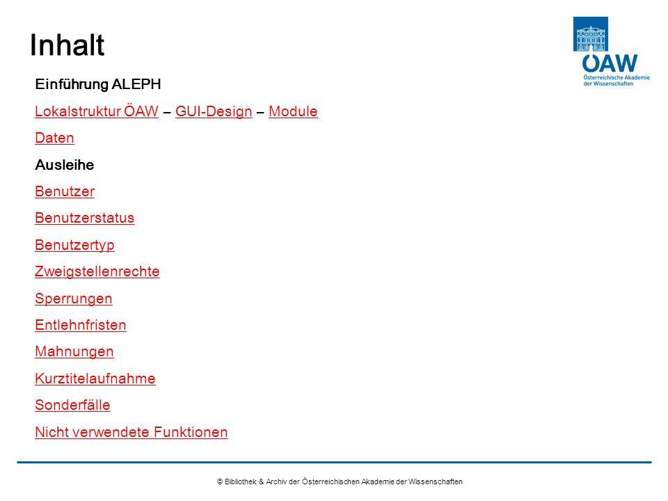 Inhalt Einführung ALEPH Lokalstruktur ÖAW – GUI-Design – Module Daten