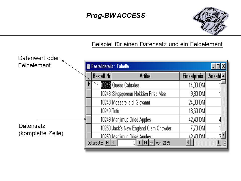 Prog-BW ACCESS Beispiel für einen Datensatz und ein Feldelement. Datenwert oder. Feldelement. Datensatz.