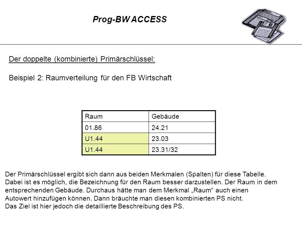 Prog-BW ACCESS Der doppelte (kombinierte) Primärschlüssel: