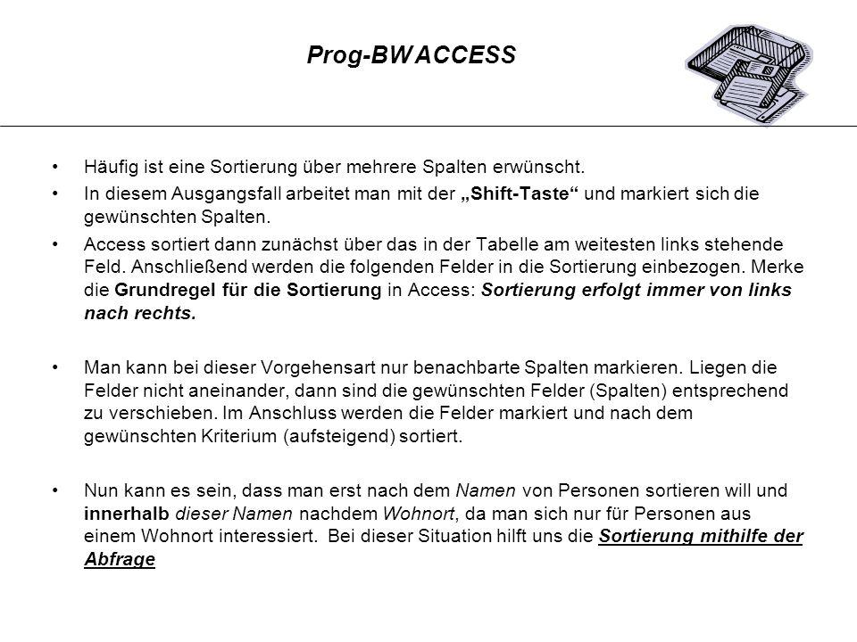 Prog-BW ACCESSHäufig ist eine Sortierung über mehrere Spalten erwünscht.