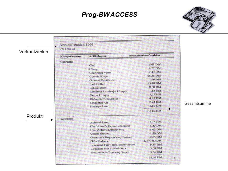 Prog-BW ACCESS Verkaufzahlen Gesamtsumme Produkt: