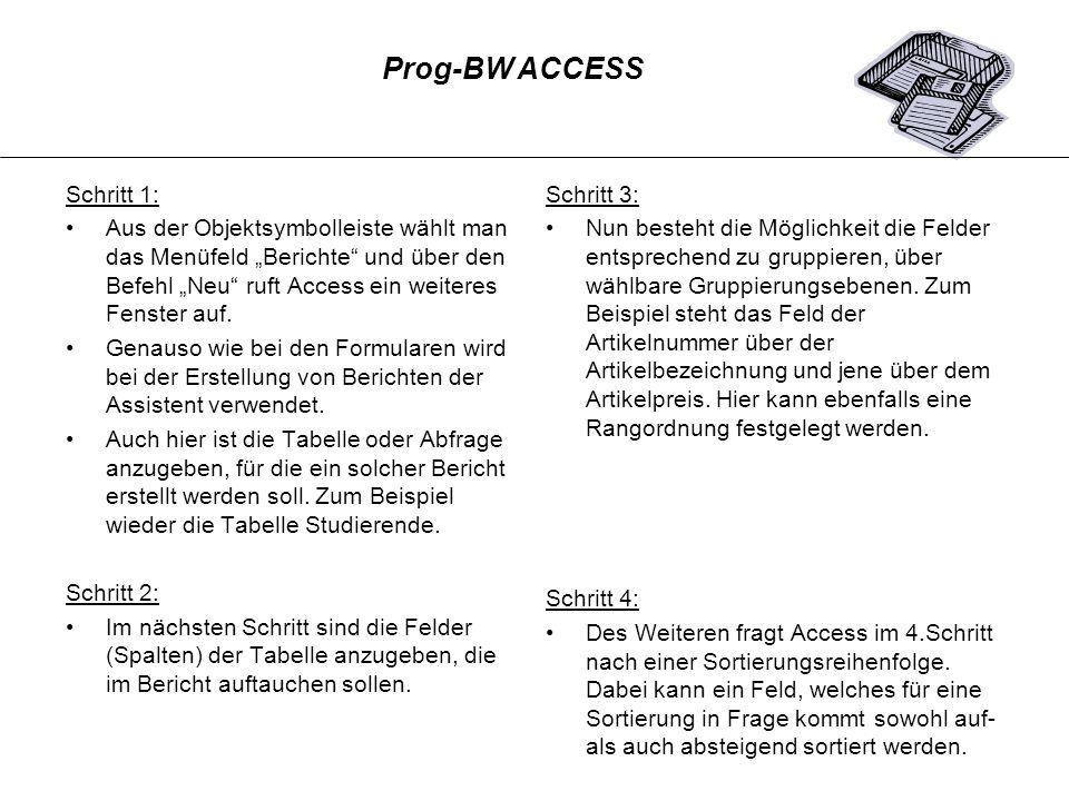 Prog-BW ACCESS Schritt 1: