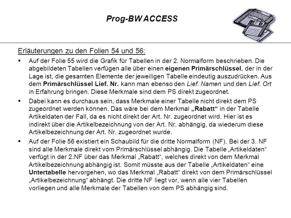 Prog-BW ACCESS Erläuterungen zu den Folien 54 und 56: