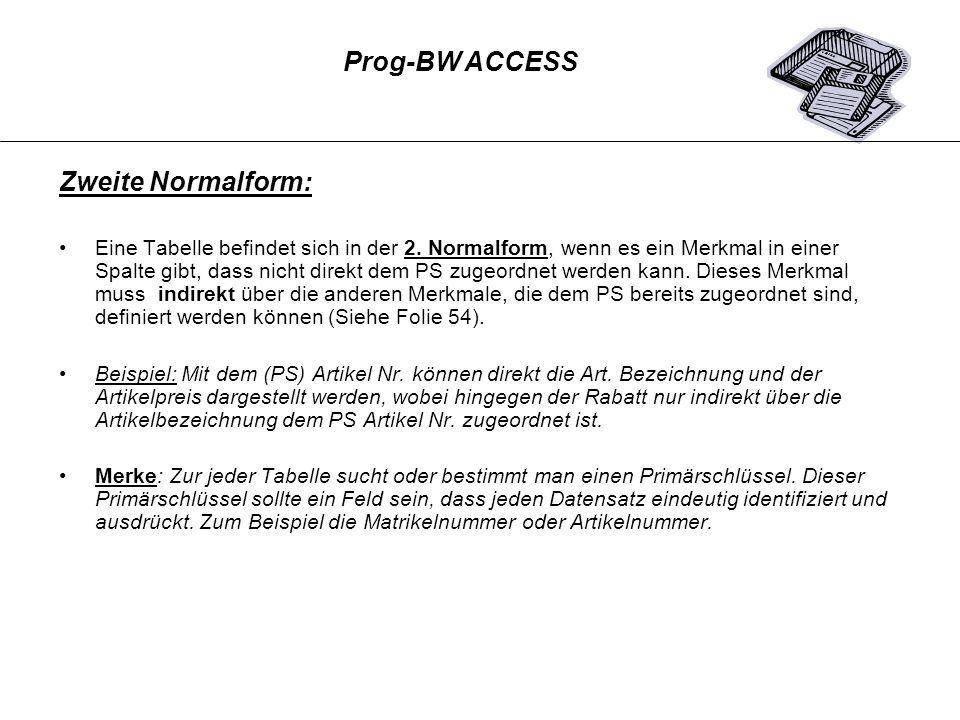 Zweite Normalform: Prog-BW ACCESS
