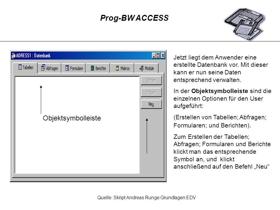 Prog-BW ACCESS Objektsymbolleiste
