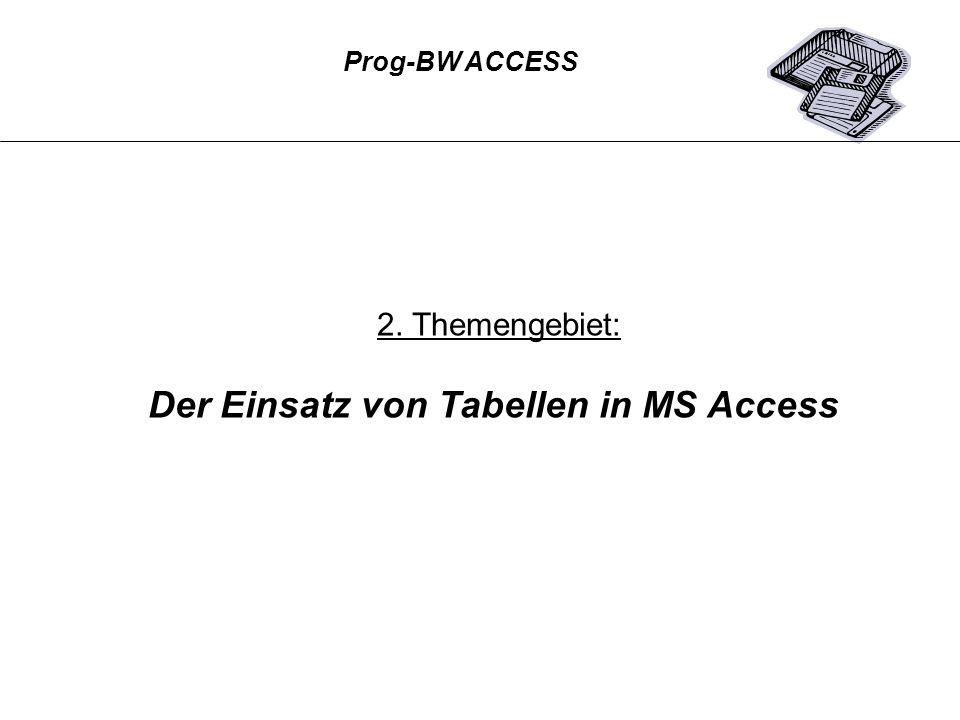 Prog-BW ACCESS 2. Themengebiet: Der Einsatz von Tabellen in MS Access