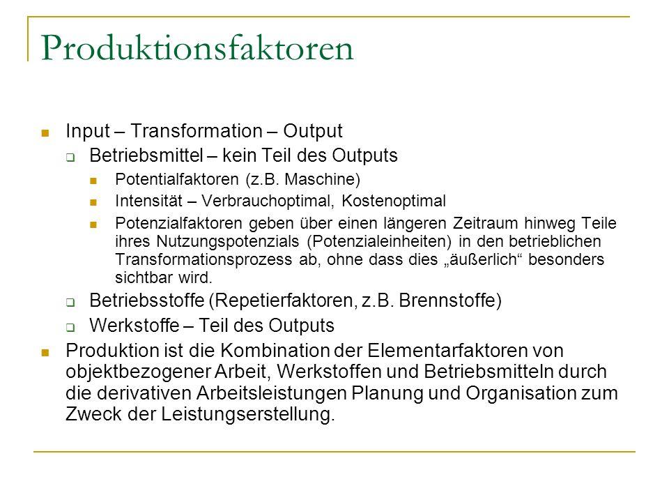 Produktionsfaktoren Input – Transformation – Output