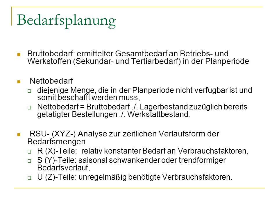 Bedarfsplanung Bruttobedarf: ermittelter Gesamtbedarf an Betriebs- und Werkstoffen (Sekundär- und Tertiärbedarf) in der Planperiode.
