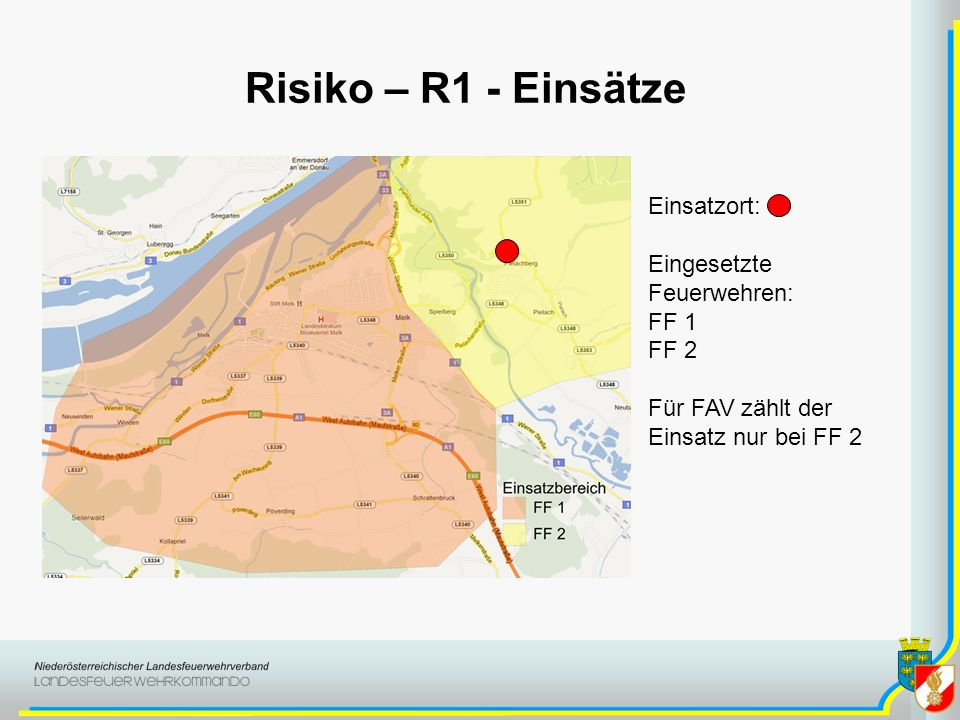 Risiko – R1 - Einsätze Einsatzort: Eingesetzte Feuerwehren: FF 1 FF 2