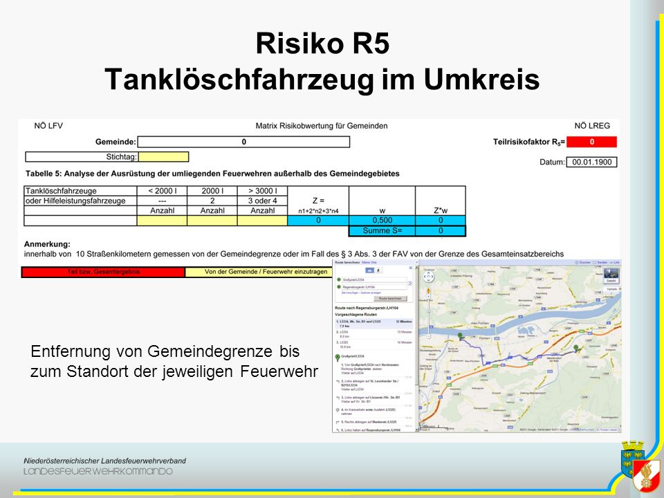 Risiko R5 Tanklöschfahrzeug im Umkreis