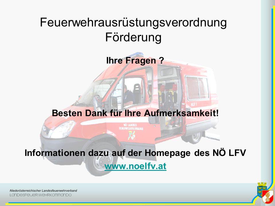 Feuerwehrausrüstungsverordnung Förderung