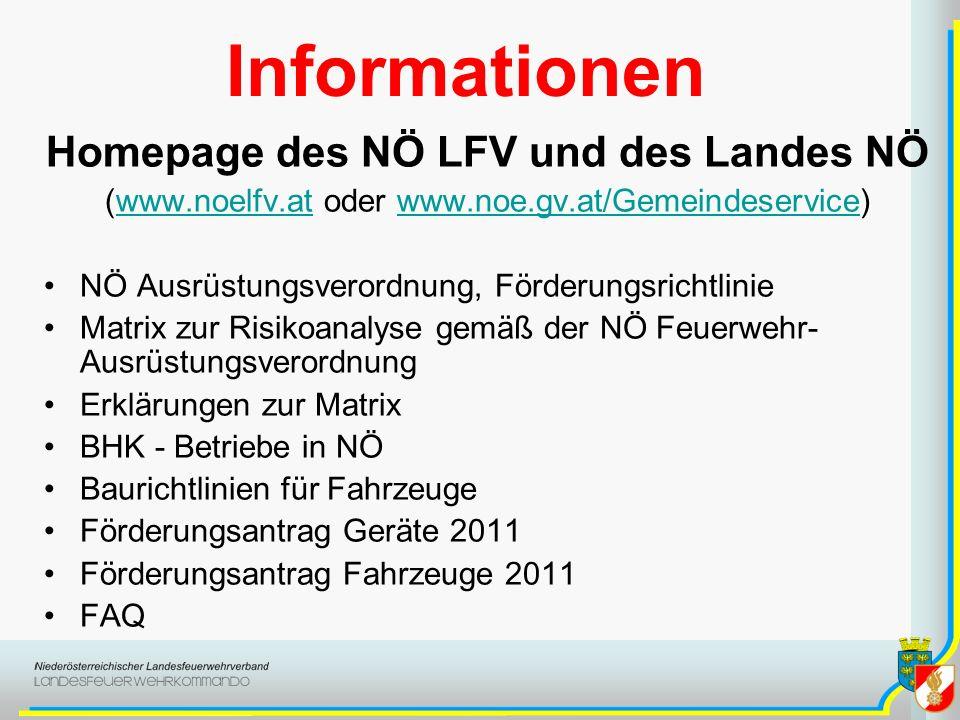 Informationen Homepage des NÖ LFV und des Landes NÖ