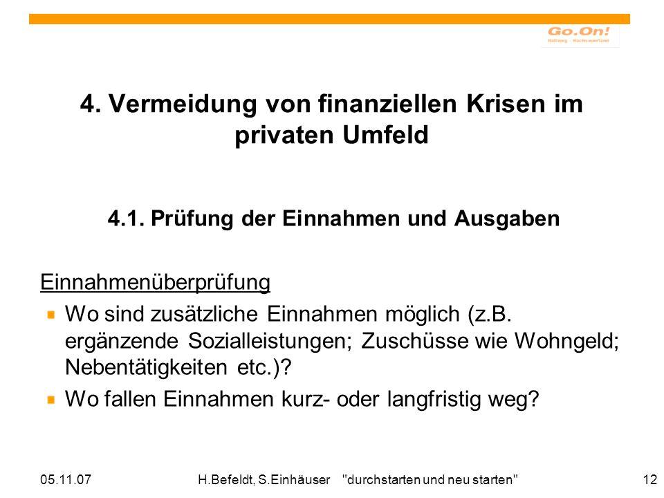 4. Vermeidung von finanziellen Krisen im privaten Umfeld