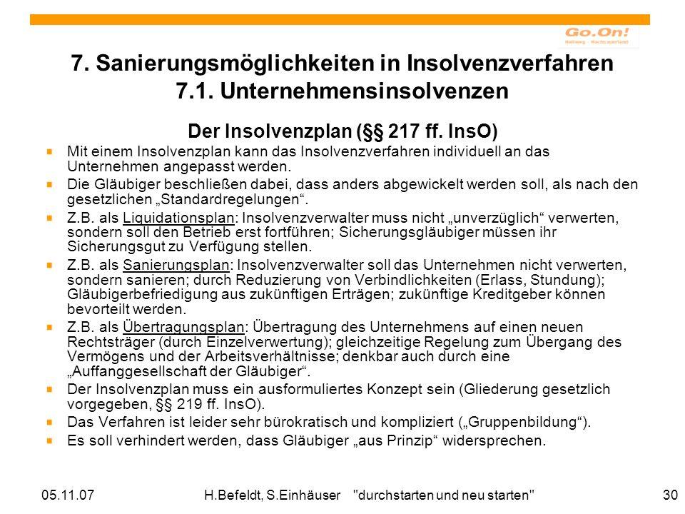 Der Insolvenzplan (§§ 217 ff. InsO)