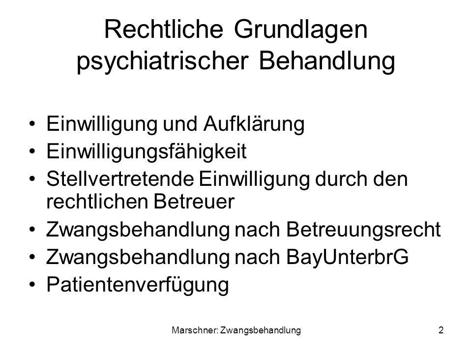 Rechtliche Grundlagen psychiatrischer Behandlung