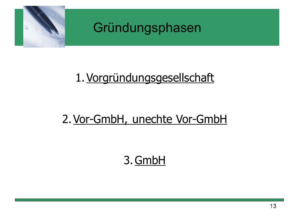 Gründungsphasen Vorgründungsgesellschaft Vor-GmbH, unechte Vor-GmbH