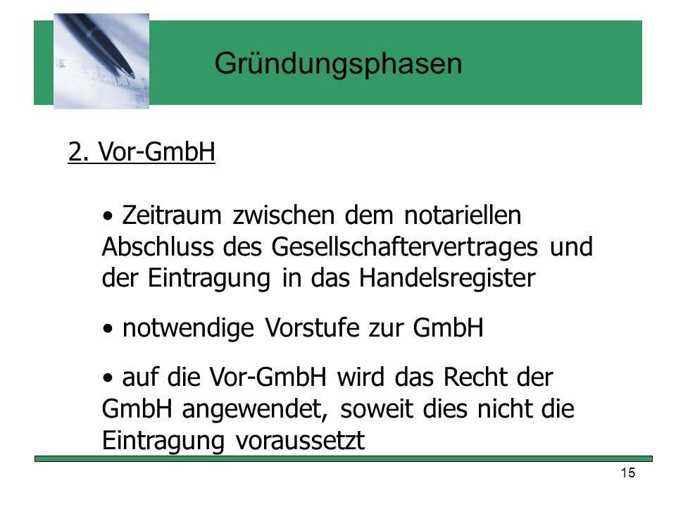 Gründungsphasen 2. Vor-GmbH