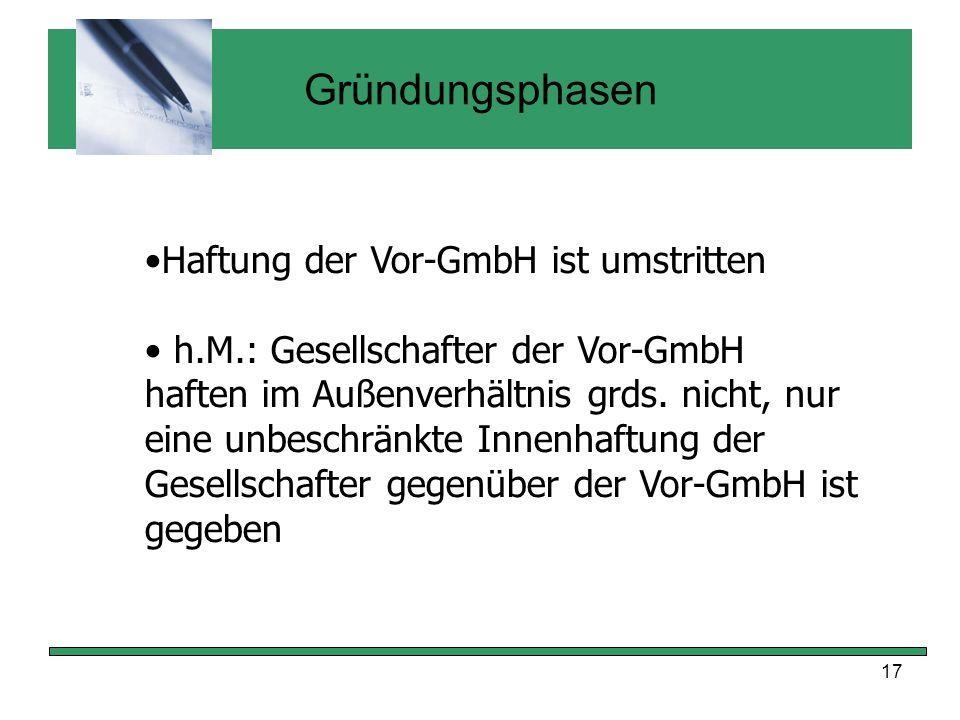 Gründungsphasen Haftung der Vor-GmbH ist umstritten