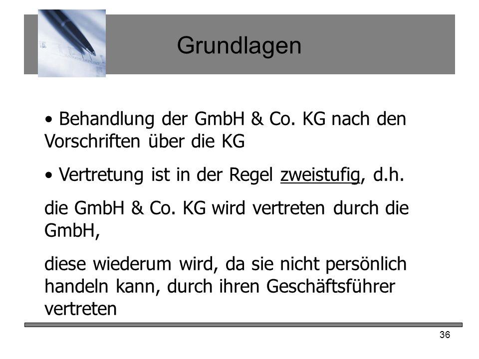 Grundlagen Behandlung der GmbH & Co. KG nach den Vorschriften über die KG. Vertretung ist in der Regel zweistufig, d.h.