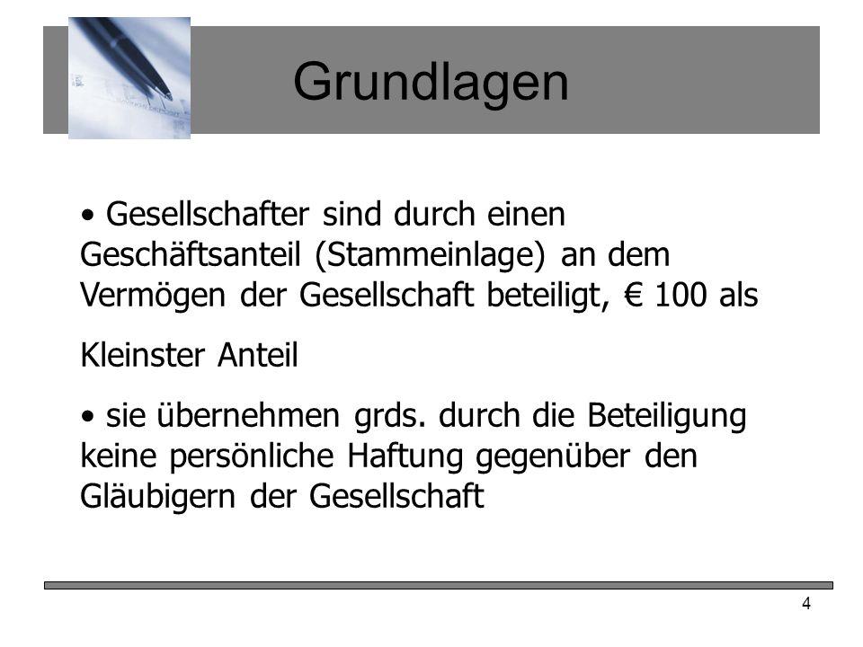 Grundlagen Gesellschafter sind durch einen Geschäftsanteil (Stammeinlage) an dem Vermögen der Gesellschaft beteiligt, € 100 als.