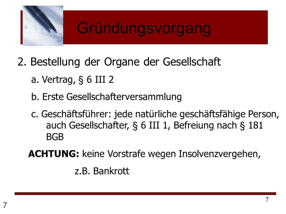 Gründungsvorgang 2. Bestellung der Organe der Gesellschaft