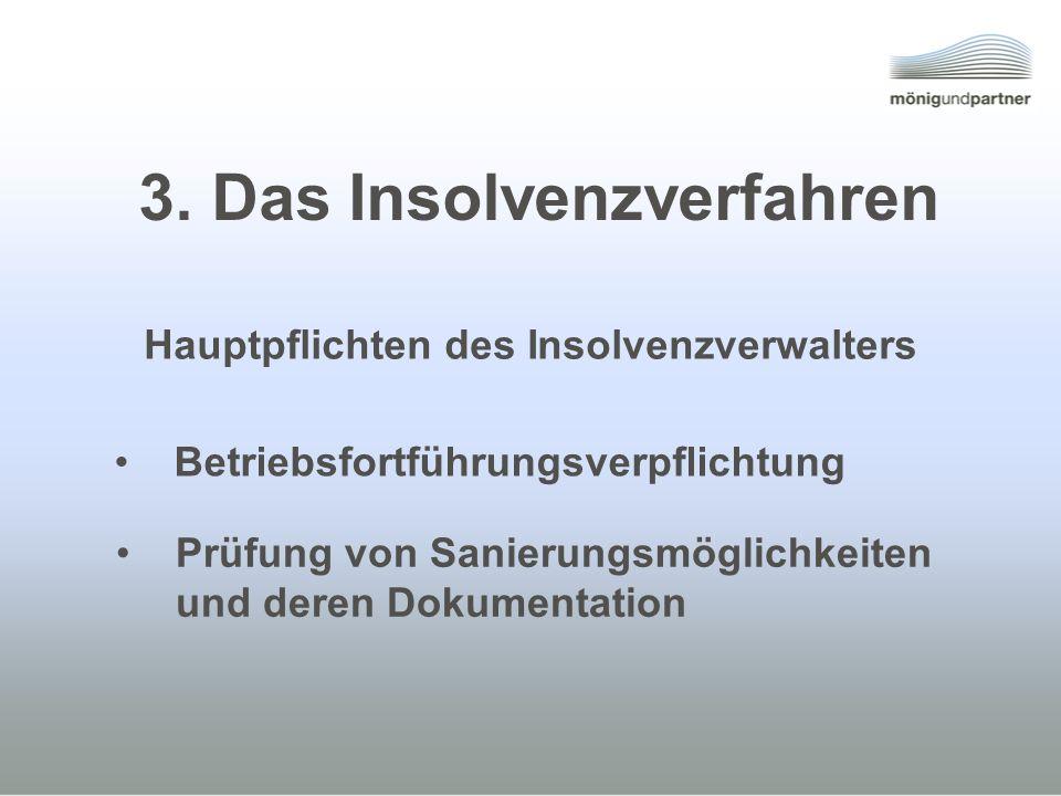 3. Das Insolvenzverfahren Hauptpflichten des Insolvenzverwalters