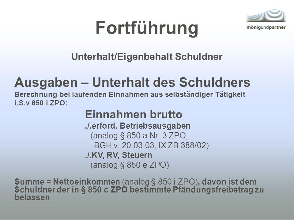 Unterhalt/Eigenbehalt Schuldner
