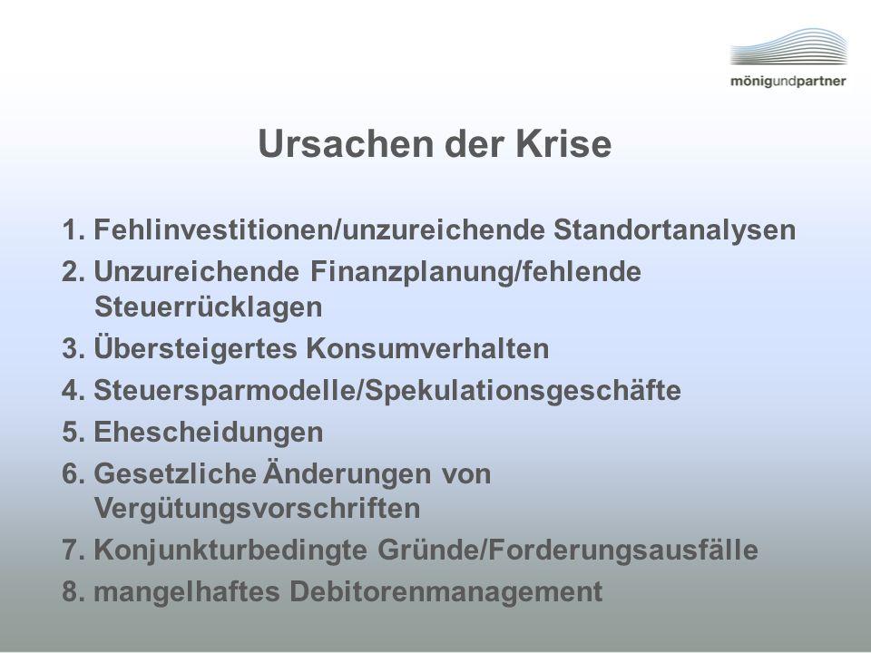 Ursachen der Krise 1. Fehlinvestitionen/unzureichende Standortanalysen