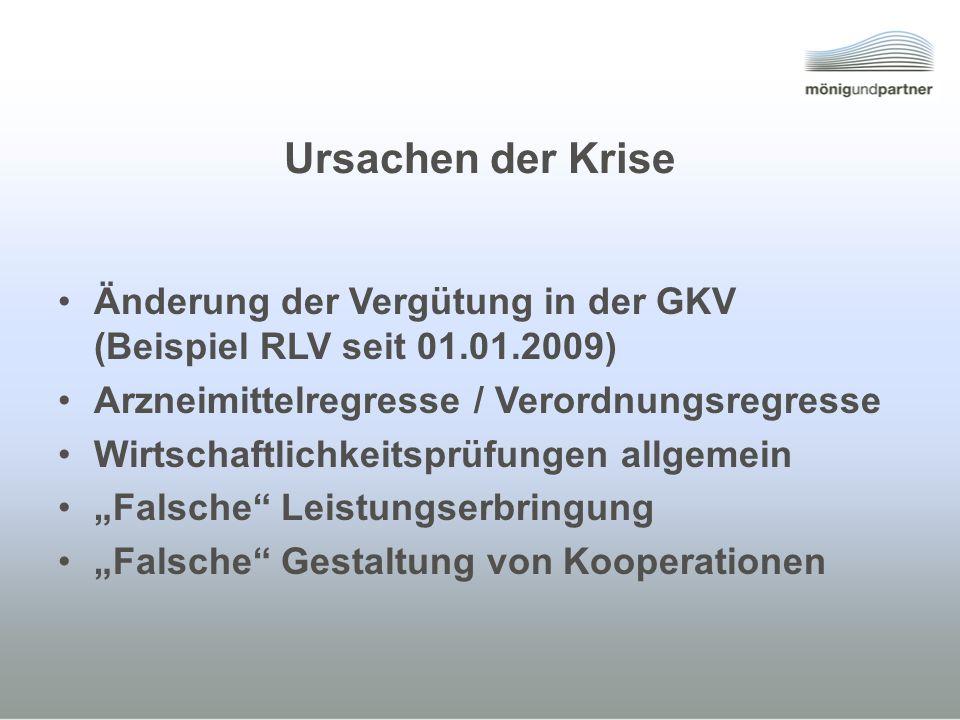 Ursachen der Krise Änderung der Vergütung in der GKV (Beispiel RLV seit 01.01.2009) Arzneimittelregresse / Verordnungsregresse.