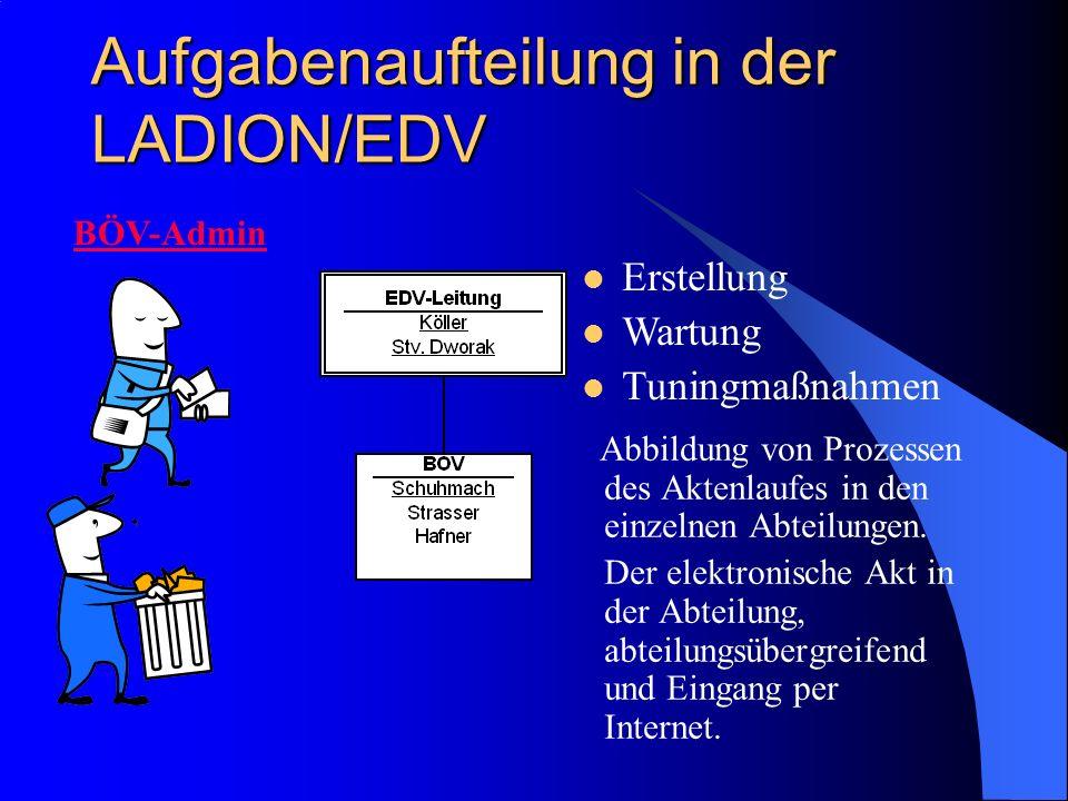 Aufgabenaufteilung in der LADION/EDV