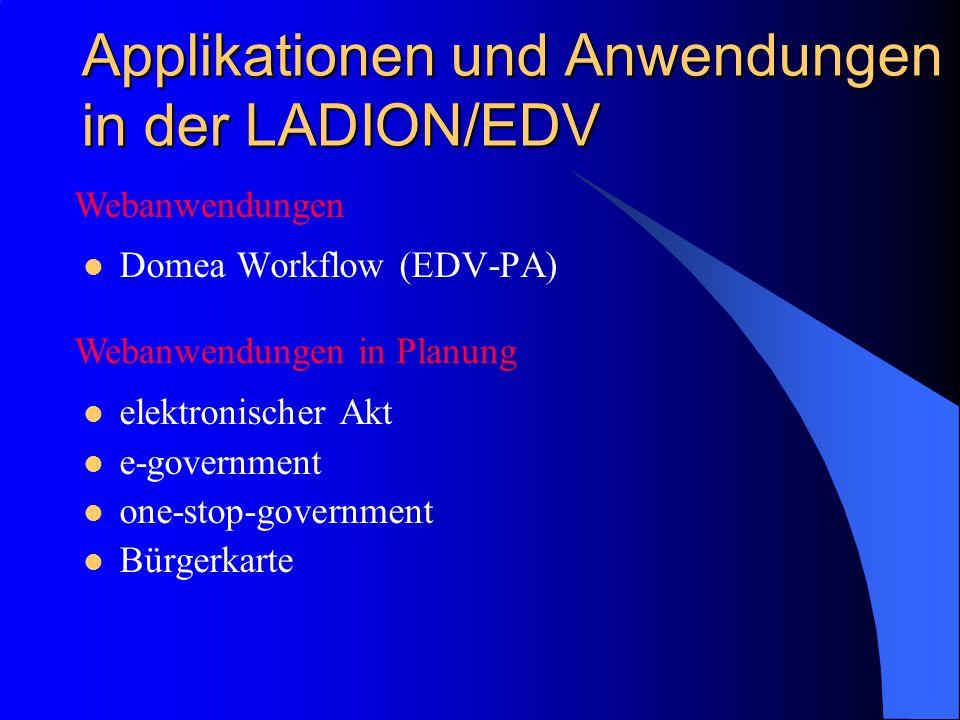 Applikationen und Anwendungen in der LADION/EDV