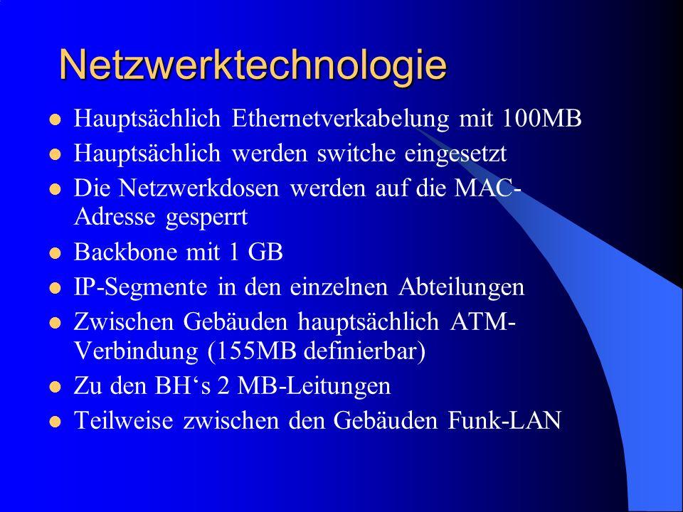 Netzwerktechnologie Hauptsächlich Ethernetverkabelung mit 100MB