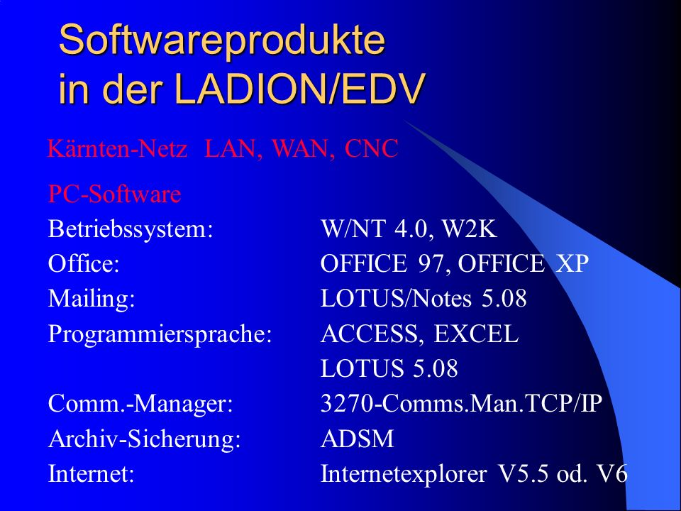 Softwareprodukte in der LADION/EDV