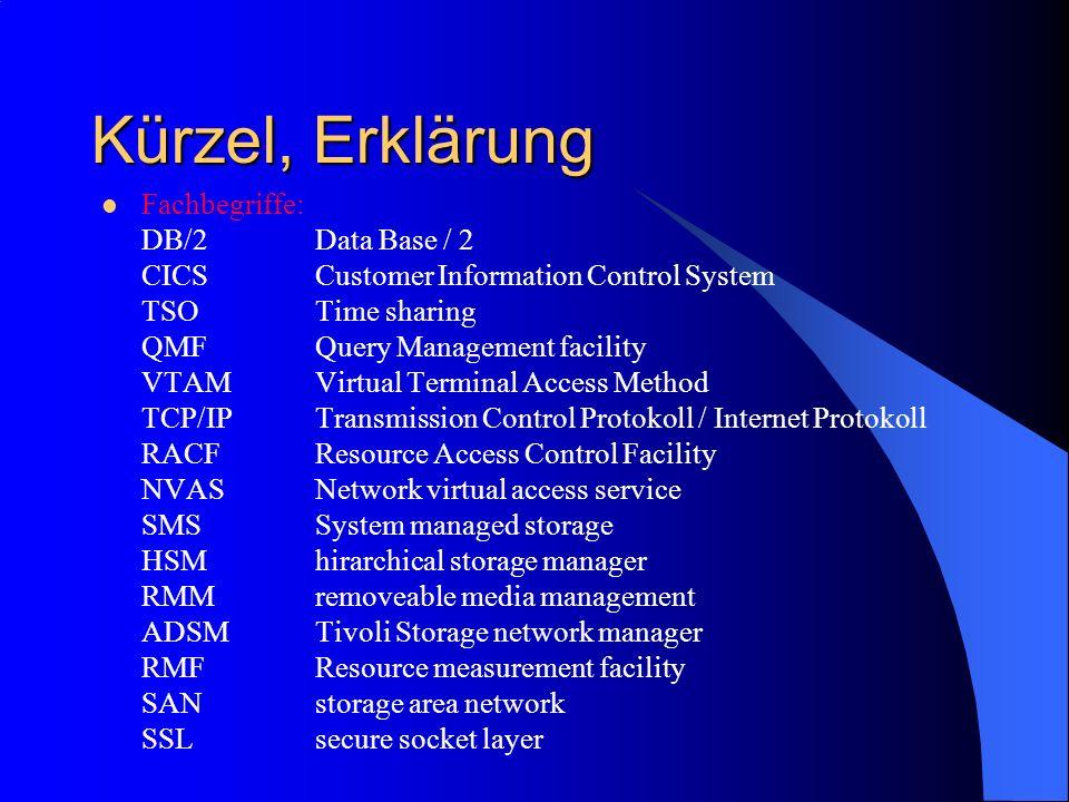 Kürzel, Erklärung Fachbegriffe: DB/2 Data Base / 2