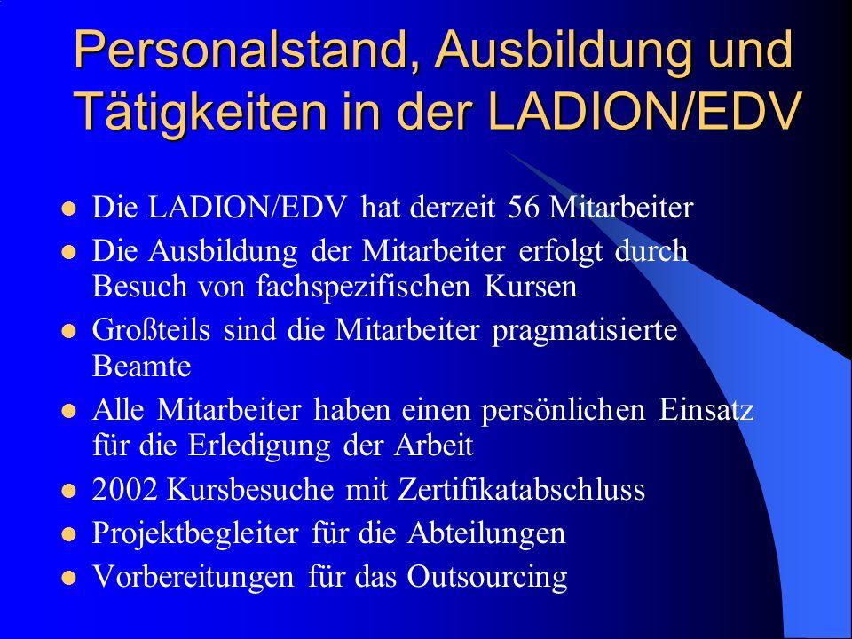 Personalstand, Ausbildung und Tätigkeiten in der LADION/EDV