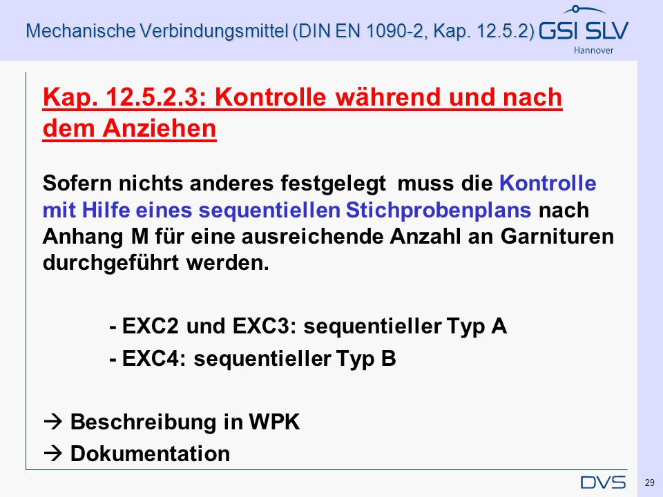 Mechanische Verbindungsmittel (DIN EN 1090-2, Kap. 12.5.2)