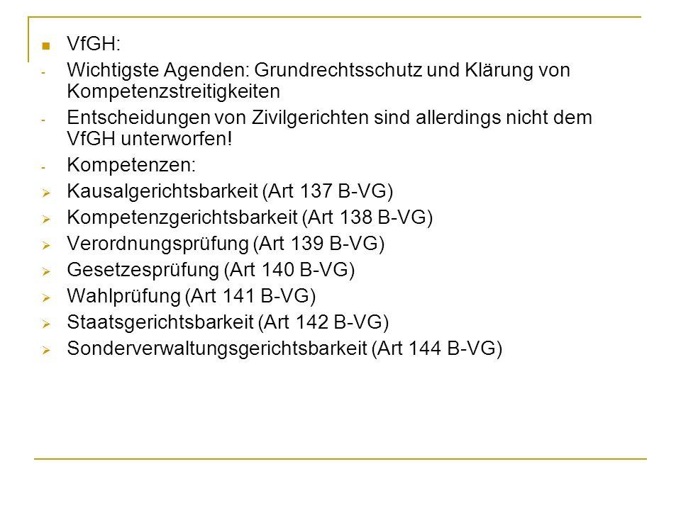 VfGH: Wichtigste Agenden: Grundrechtsschutz und Klärung von Kompetenzstreitigkeiten.