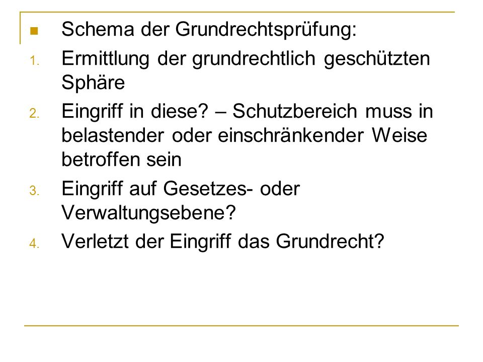 Schema der Grundrechtsprüfung: