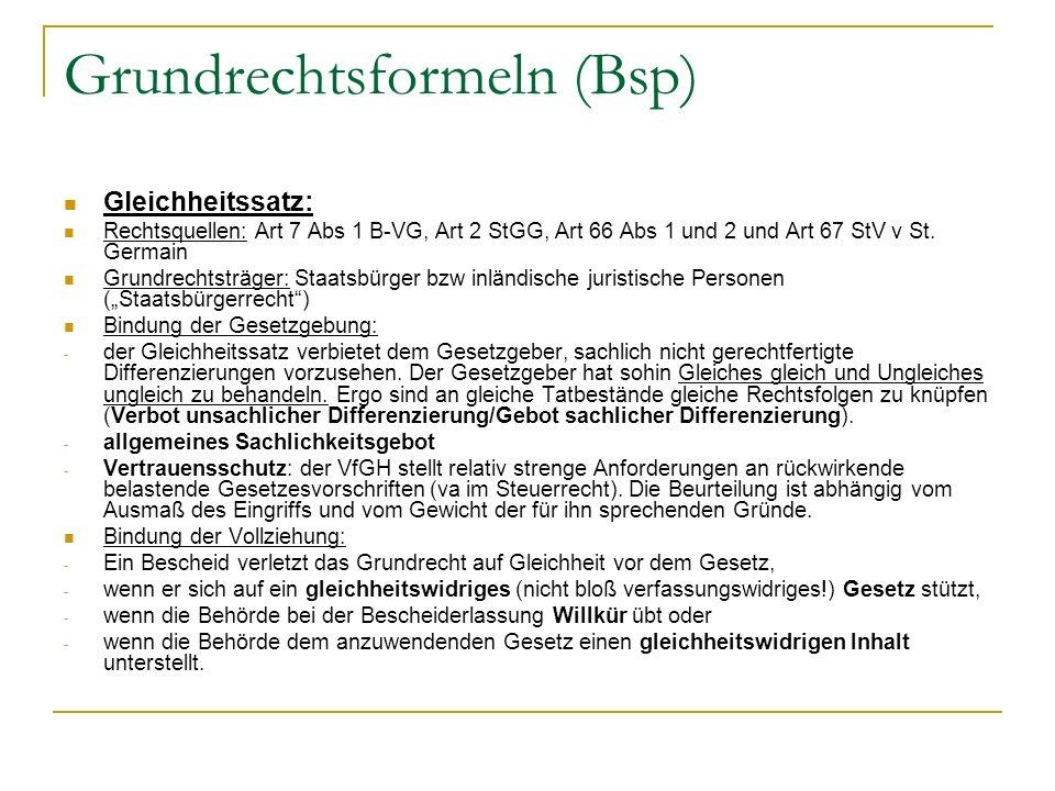 Grundrechtsformeln (Bsp)