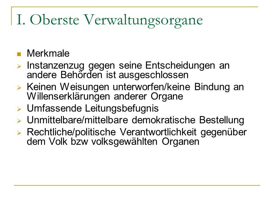 I. Oberste Verwaltungsorgane
