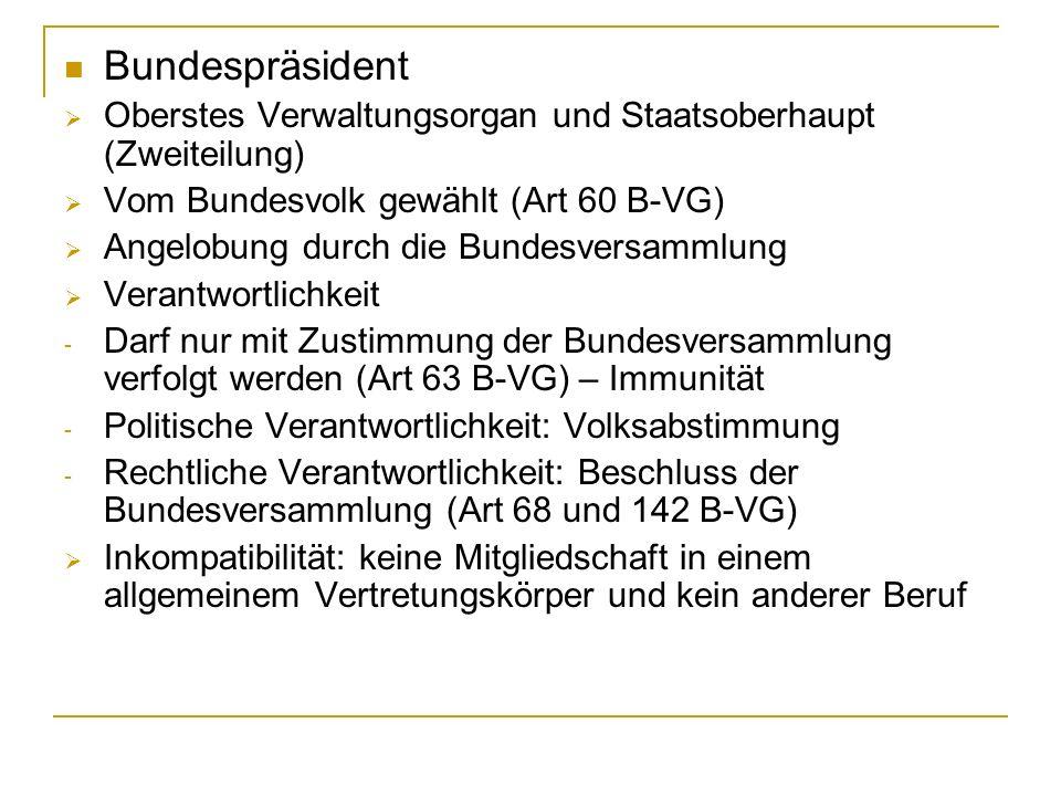 Bundespräsident Oberstes Verwaltungsorgan und Staatsoberhaupt (Zweiteilung) Vom Bundesvolk gewählt (Art 60 B-VG)
