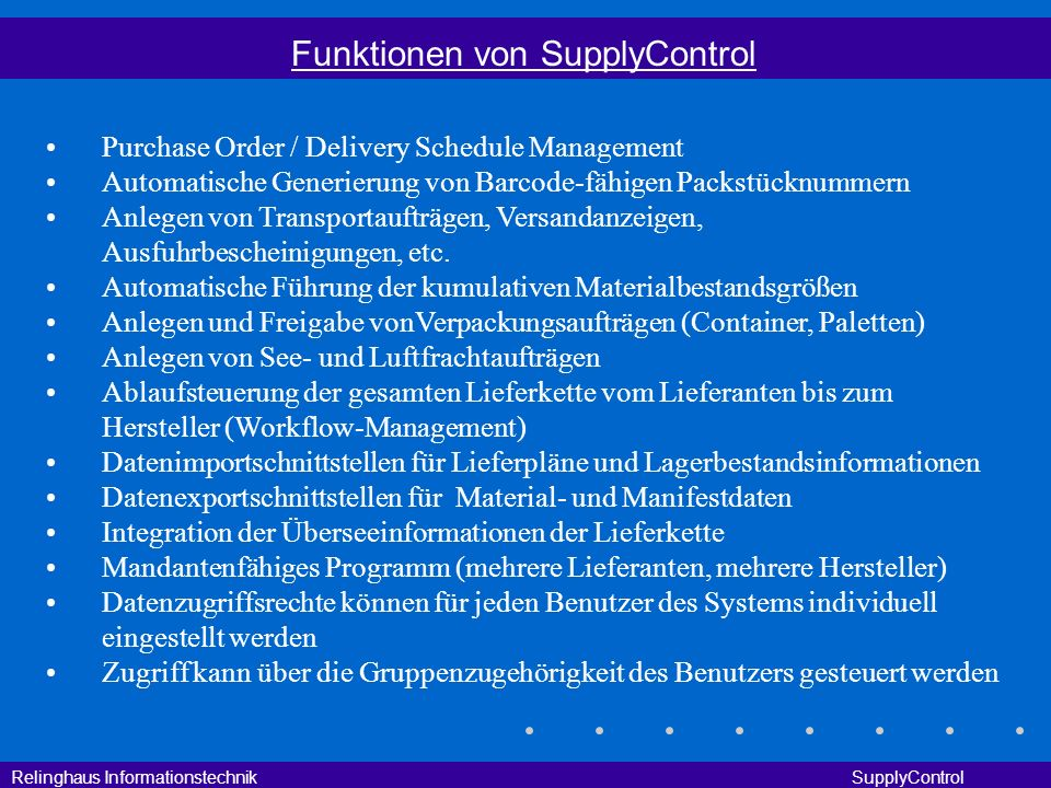 Funktionen von SupplyControl