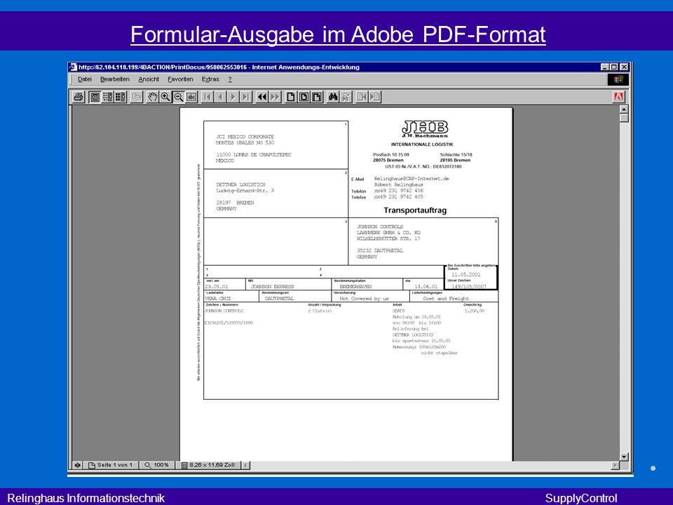 Formular-Ausgabe im Adobe PDF-Format