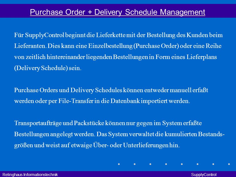 Purchase Order + Delivery Schedule Management