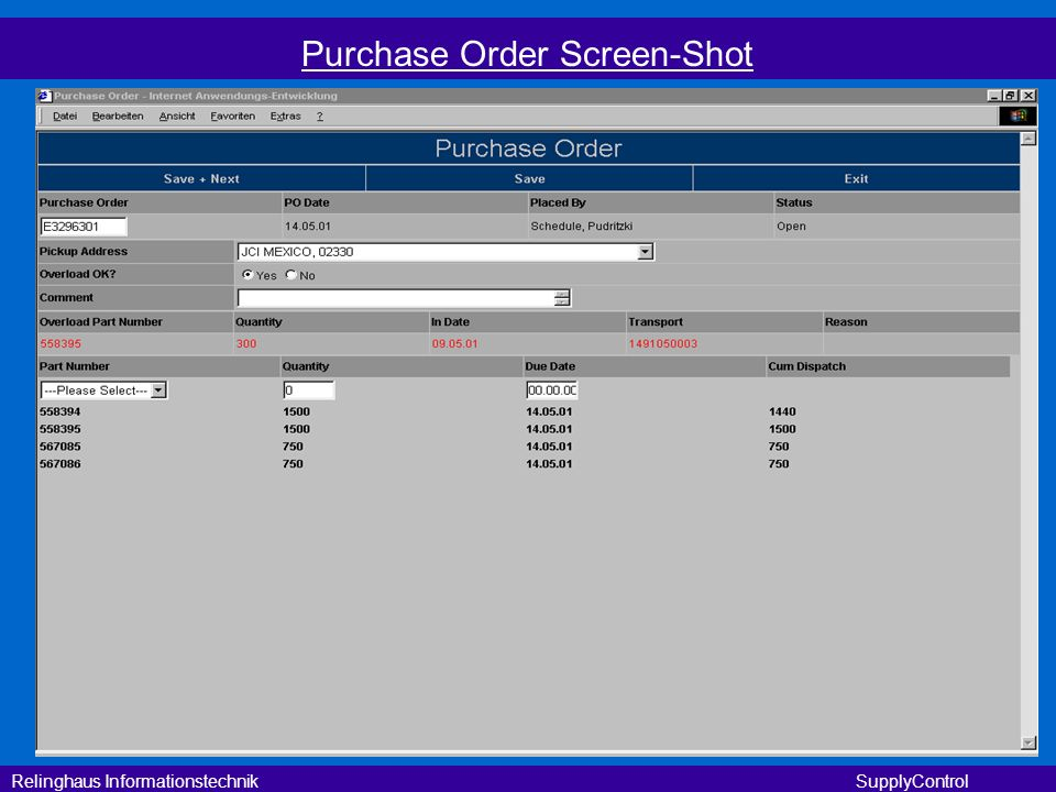 Purchase Order Screen-Shot