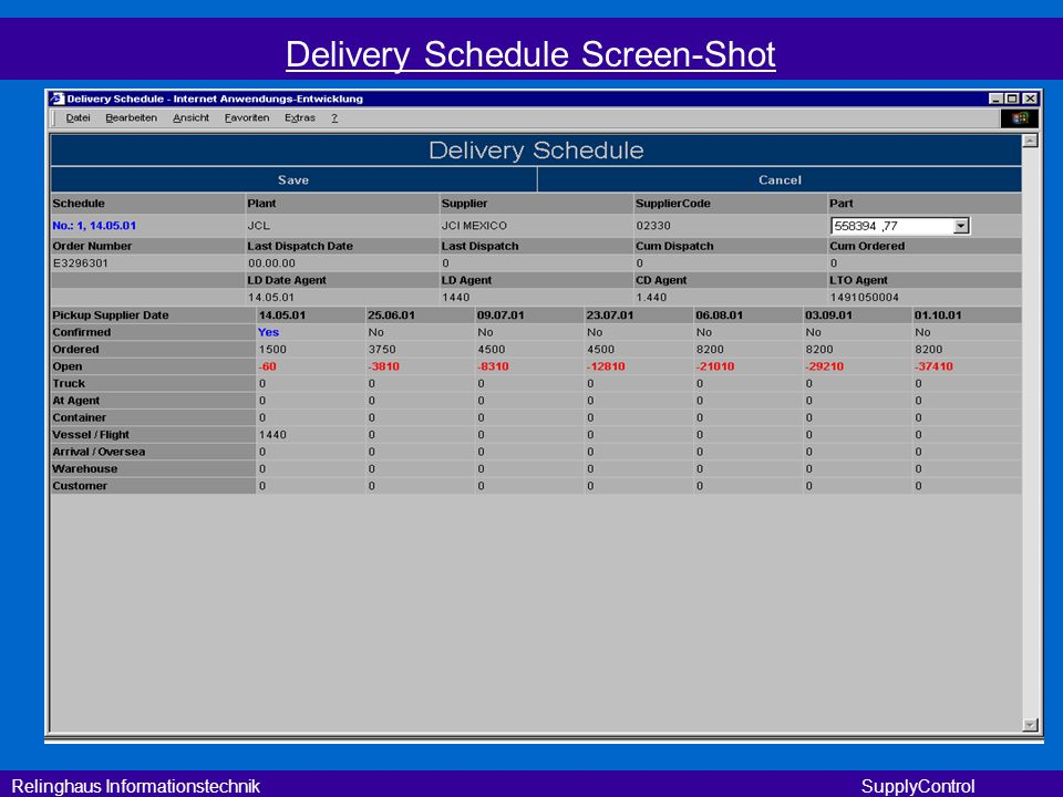 Delivery Schedule Screen-Shot