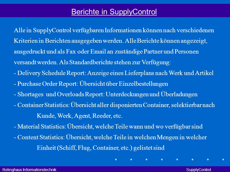 Berichte in SupplyControl