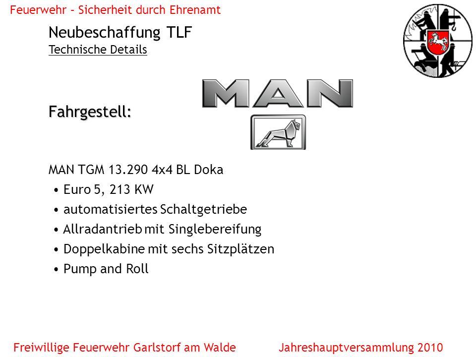 Neubeschaffung TLF Fahrgestell: MAN TGM 13.290 4x4 BL Doka