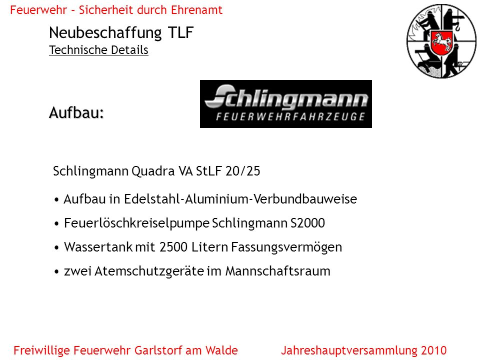 Neubeschaffung TLF Aufbau: Schlingmann Quadra VA StLF 20/25